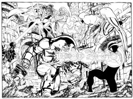 John Byrne Uncanny X-Men vs Magento + Juggernaut LARGE Commission (2010)