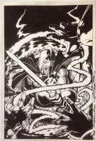 Ultraforce 8 Cover Original Art (Malibu, 1995) Black Knight, Infinity Gems, Avengers, Ultraverse