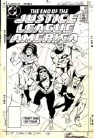 Justice League of America 258 Cover Original Art (DC, 1987) Death of Vibe! Justice League disbands!