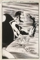Superboy 5 Cover Original Art (DC, 2011) Superboy / Kid Flash Race